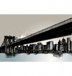 bridge and city vector image