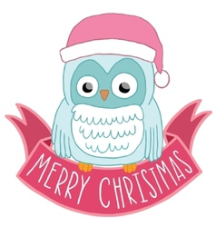 Christmas owl in Santa hat with ribbon vector image