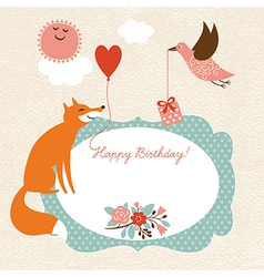 Greeting card  fox and bird vector