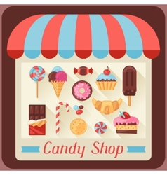 Candy shop background with candy sweets and cakes vector