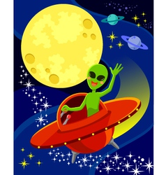 Alien in space vector