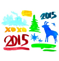 Symbols of the new year 2015 goat spruce numbers vector