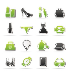 Female fashion objects and accessories icons vector