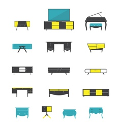 Icon set of home and office furniture interior vector