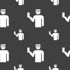 Inspector icon sign seamless pattern on a gray vector