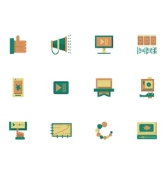 Flat simple icons for video blogging vector