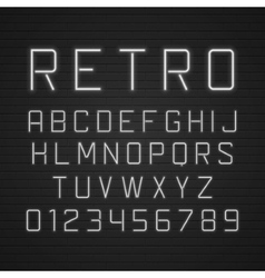 Design retro signboard letters with light vector