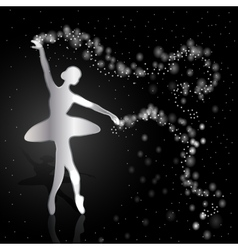 Silver ballerina on dark background vector