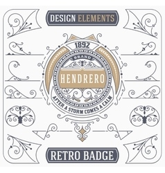 Vintage ornament and retro badge design elements vector