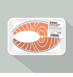 Salmon sliced pack vector