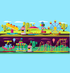 Amusement park horizontal banners vector