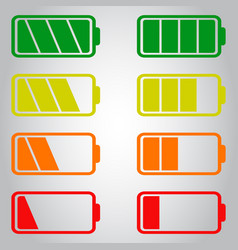 Battery icon set isolated on gray background vector