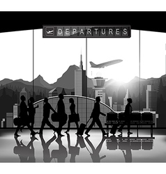 Blank and white Silhouette people with airport bac vector image