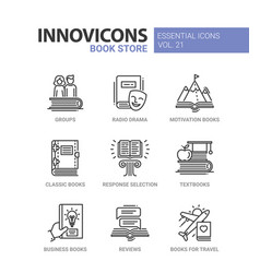 Book store - modern color single line icons vector
