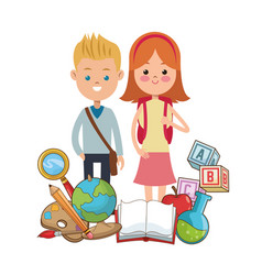 Boy and girl pupils school equipment vector