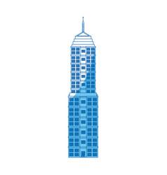 Building urban windows facade blue line vector