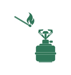 Burner and matches icon vector