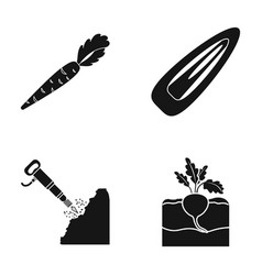 Carrots barrette and other web icon in black vector