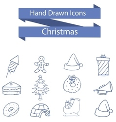 Christmas icons style of art vector image