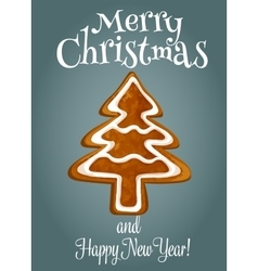 Christmas tree made of gingerbread greeting card vector image vector image