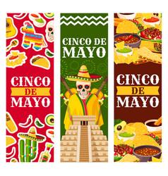 Cinco de mayo mexican greeting banners vector