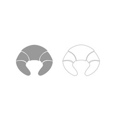 croissant grey set icon vector image vector image