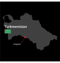 Detailed map of Turkmenistan and capital city vector image