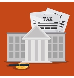 Document bank coin and pen icon tax and financial vector