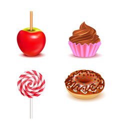 Fair sweets realistic set vector