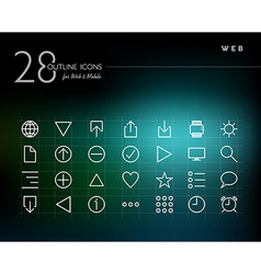 Global web outline icons set vector