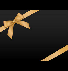 Gold bow with ribbonsgift card template vector