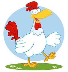 Happy White Rooster Walking vector image vector image