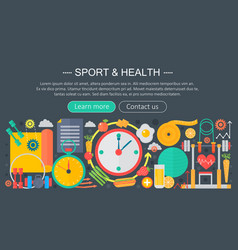 healthy lifestyle concept with food and sport vector image vector image