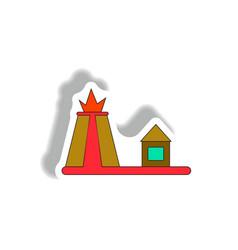 In paper sticker style volcano vector
