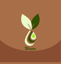 leaf with drop in logo organic life symbol eco vector image vector image
