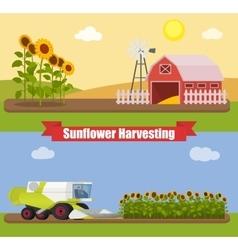 Modern combine harvester tractor working a vector