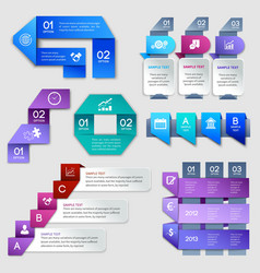 Origami infographics elements vector