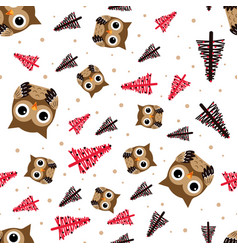 pattern with owl and christmas trees vector image