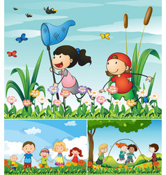 people being happy in the garden vector image vector image