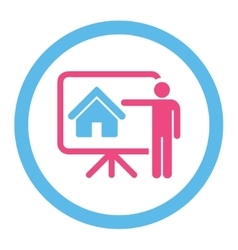 Realtor flat pink and blue colors rounded vector