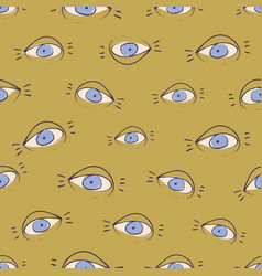 seamless pattern design with sketchy open eyes vector image vector image