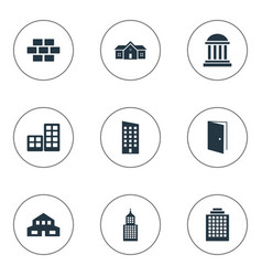 Set of 9 simple architecture icons can be found vector