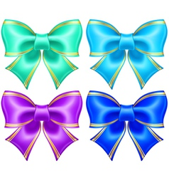 Silk bows in cool colors with golden edging vector