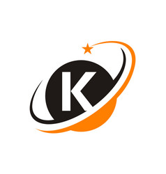 star swoosh letter k vector image vector image