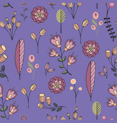 Stylized flowers on a purple background vector