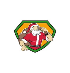 Super santa claus carrying sack shield cartoon vector