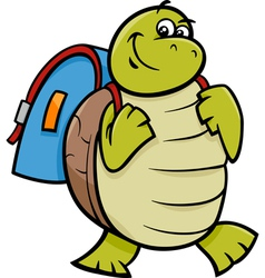 Turtle with satchel cartoon vector