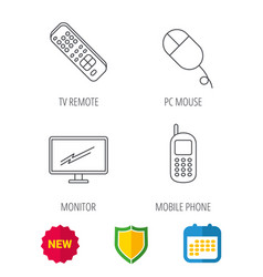 Tv remote pc mouse and mobile phone icons vector