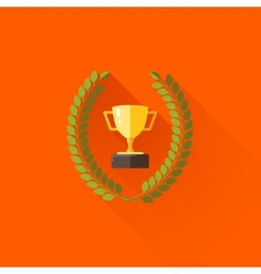 with laurel wreath and champions cup in flat vector image vector image