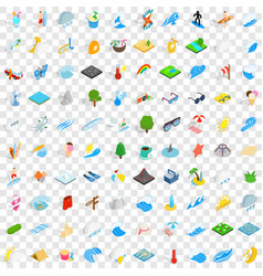 100 water recreation icons set isometric 3d style vector